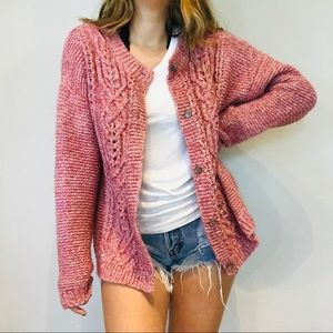 Sundance pink chunky cable knit cardigan